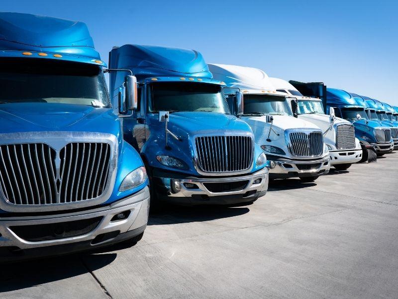 fleet of heavy trucks